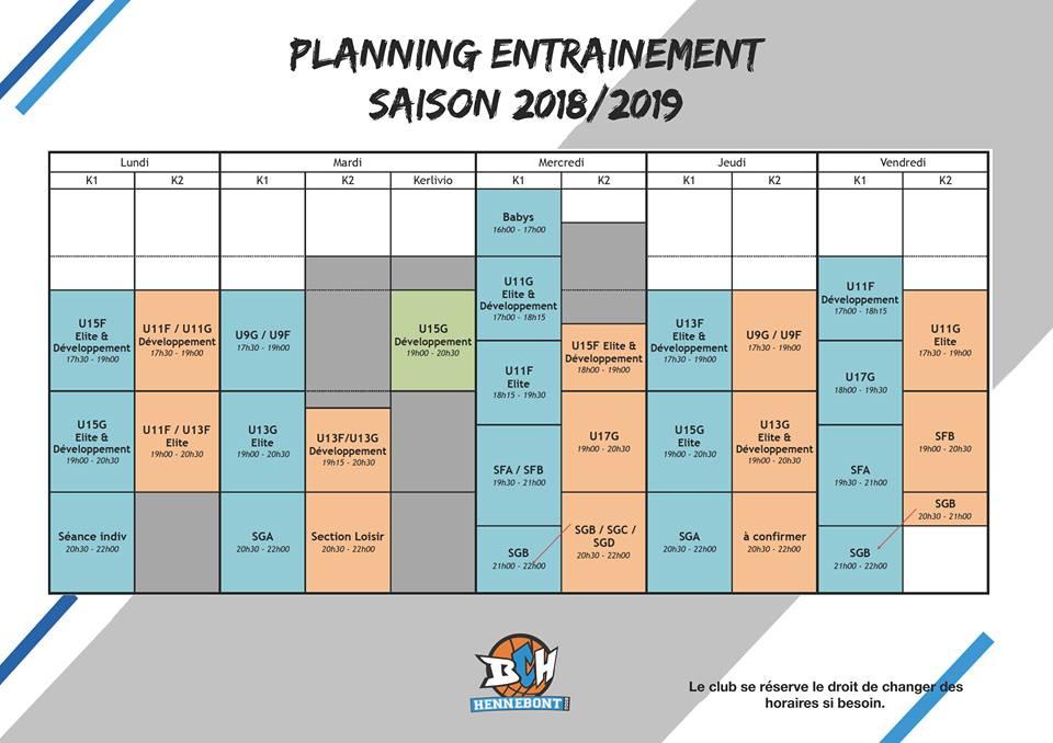 BCH planning entrainement 2018-2019